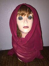 Burgundy Long Scarf Hijab Wrap Sheer pretty and fashionable Last One