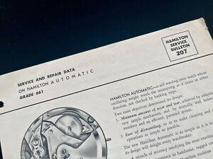 Vintage Hamilton automatic 661 Certina 25-45 Service Bulletin Repair Guide 1950s