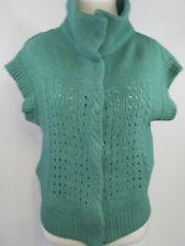 Free People Women's Cardigan Sweater- Aqua Snap Closure Short Sleeve Wool size S