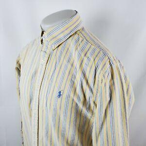 Ralph Lauren Mens Button Front Shirt Sz Large Yellow Blue Striped Pony A28-19