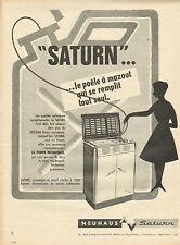 """Publicité 1961  """"SATURN"""" ... le poele à mazout avec pompe incorporée"""