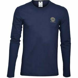 Versace Iconic Crew-Neck Long-Sleeve Men's T-Shirt, Dark Blue