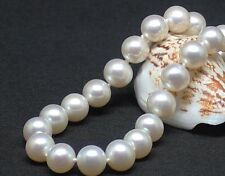"""18""""11-12mm natural south sea genuine white perfect round pearl necklace AAA"""