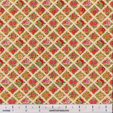 Flower of the Month Nov CHRYSANTHEMUM SQUARES Northcott Fabric By FQ - 1/4 YD