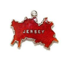 Vintage Sterling Silver TLM Bracelet Charm Jersey Island Map UK Red Enamel