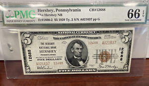 PMG 66 EPQ 1929 Ty.2 Fr#1800-2 Hershey Pa. National Bank *Extremely Rare Find!*