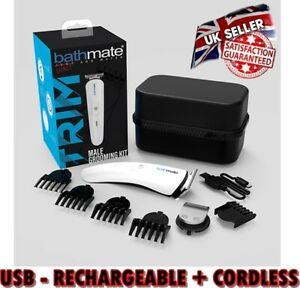 🇬🇧 Bathmate Unisex Grooming Pubic Hair Beard Trimmer USB Rechargeable Cordless
