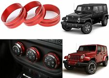 3pc Red Climate Control Trim Rings For 2011-2017 Jeep Wrangler New Free Shipping