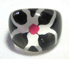 Vintage Funky Lucite Ring Black White Red Flower Inside Fun Size 5-1/4 Plastic