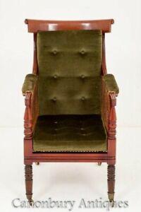 William IV Bergere Chair - Antique Mahogany 19th Century