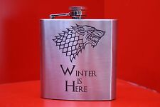 6oz Stainless Steel Hip Flask Winter Is Here Dire Wolf Game Of Thrones Starks