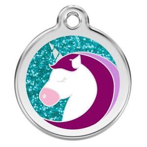 Personalised Engraved Dog Cat ID Identity Tags / Discs Unicorn. Red Dingo (XUC)