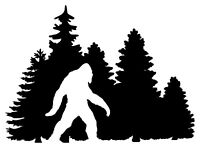 Bigfoot in Treeline Vinyl Decal - Yeti Sasquatch Camping - Die Cut Sticker