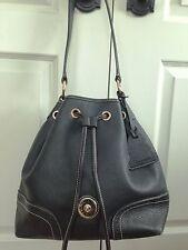Dooney & Bourke Leather Black Pebbled Drawstring Tassel Purse Shoulder Bag Tote