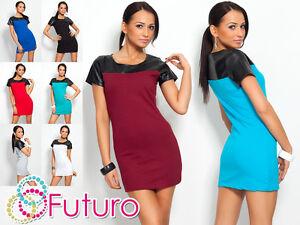 Sensible & Sexy Women's Tunic Eco Leather Crew Neck Mini Dress Size 8-12 160