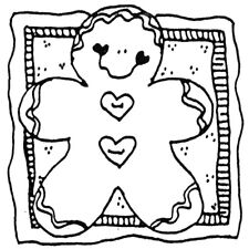 Unmounted Rubber Stamps Set, Gingerbread Man, Mittens, Christmas Stamps, Winter