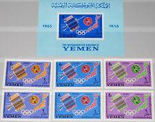 YEMEN JEMEN KINGDOM 1965 145-47 A-B Block 17 B Olympics 1964 Tokyo Space ITU MNH