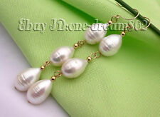 real 15mm white FW drip pearl dangle earring gold hook