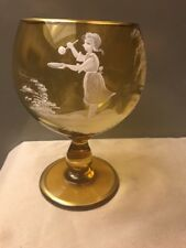 Mary Gregory Amber glass Pedestal Rose Bowl white enamel decoration Girl Bubbles
