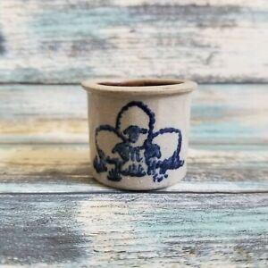 Vintage Miniature Stoneware Pottery Crock Sheep Sponge Design Signed T 1987