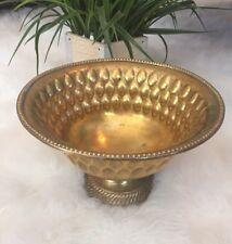 "Brass Pedestal Bowl Fruit Tall India Mid Century Modern Decor 8 7/8"" x 6"""