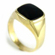 10k Yellow Gold Gent's Onyx Ring (New square design mens band, 5.5g) #2071