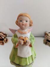 Vintage Ceramic Angel  Holding Golden Heart Figurine-Norcrest