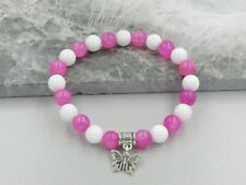 Fuchsia Pink Jade & White Agate Fashion Bracelet With Silver Butterfly Charm