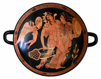 Dionysus with Ariadne and Eros small Red figure Kylix Vase - British Museum