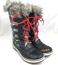 Sorel womens boots tall 8 black red plaid faux fur waterproof winter snow Tofino