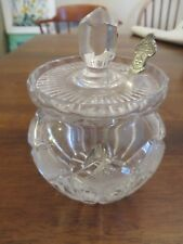Bucherer Switzerland Vintage Lidded Sugarbowl Cut Glass with Pewter Spoon