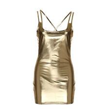 Women Ladies Sexy Clubwear Stripper Sleevelesss Leather Nightdress Mini DressCA