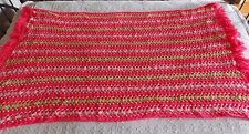 "Vintage Handmade Afghan Crochet Throw Blanket Striped with Fringe  44""x 66"""