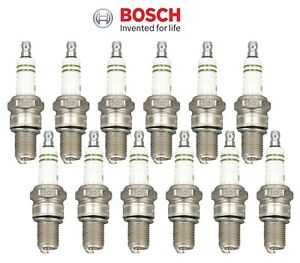Set of 12 Spark Plugs Bosch Silver W3CS For Ferrari 512 BB 1982-1985 4.9L H12