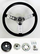 "1970-77 Mustang Grant Black Steering Wheel 13 1/2"" with Mounting Horn Kit & cap"