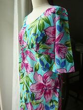 Geblümte hüftlange 3/4 Arm Damenblusen, - tops & -shirts mit U-Ausschnitt