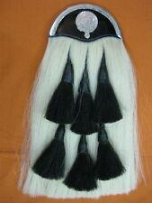 SI-WHITE HORSE HAIR LONG SPORRAN (100% Original) with CLAN FARQUHARSON EMBLEM