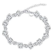 Cube Bracelet Bracelet Bracelet De Cheville Clair Et Multi Cristal Creux 925