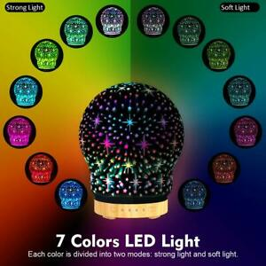 3D Starts Aroma Glass 7 LED Color Electric Humidifier Diffuser Night Light UK