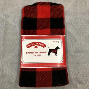 Buffalo Plaid Pet Dog Fleece pajamas Sweater coat Red Black Checkered Medium NIP