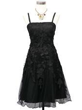 Robe de Soirée courte de cocktail noire avec voile et dentelle fleurie 42/44