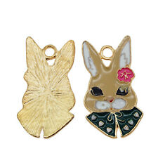6pcs/pack Enamel Alloy Colorful Lovely Rabbit Pendants Charms Accessories 53602