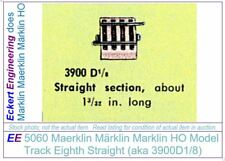 EE 5060 EXC Marklin HO Straight Model Track 3900D1/8 in EXC Condition, 4 Ties