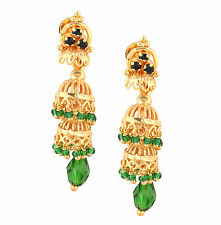 Indian Copper Metal 22K Gold Plated Handcrafted Jumki Ethnic Designer Earrings