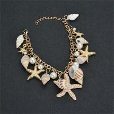 Ocean Multi Starfish Sea Star Shell Pearl Chain Bracelet Charm Accessories YD