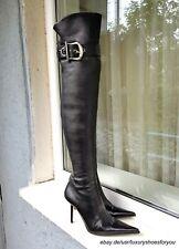 GIANMARCO LORENZI Black Leather Overknee Boots gr. EUR 38