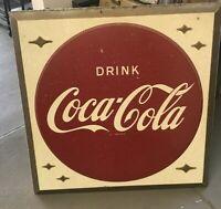 Vintage 1950's Coke Coca Cola Tin Sign 36 X36