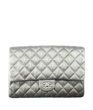 Chanel A65051 Classic Flap Silver Perforated Quilted Leather Bag