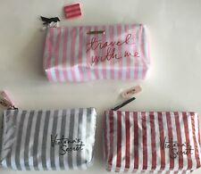 victoria secret Cosmetic Bag Makeup Case Stripes Signature Bag NWT