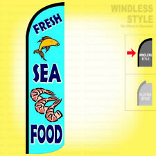 FRESH SEAFOOD - Windless Swooper Flag 2.5x11.5 ft Feather Banner Sign bz